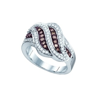 10kt White Gold Womens Round Cognac-brown Colored Diamond Band Fashion Ring 1/2 Cttw - Brown