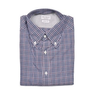 Brunello Cucinelli Mens Navy Red Check Print Button Down Shirts