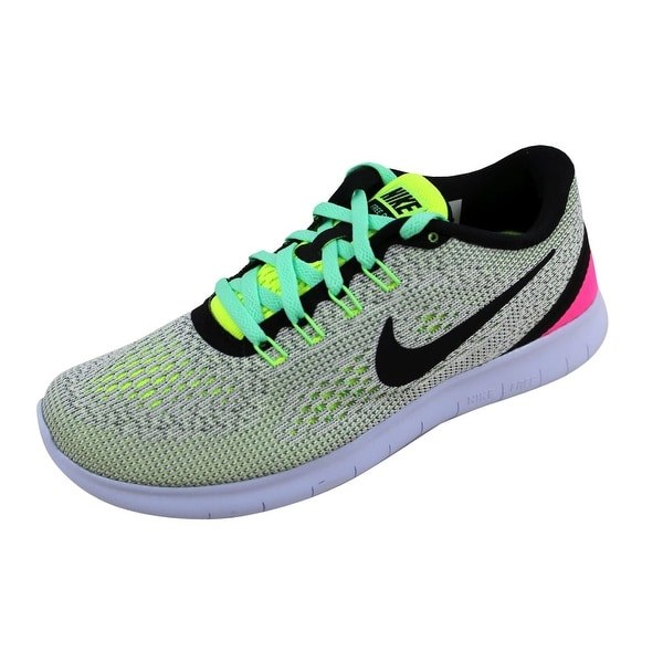 b16e393e6214 ... Women s Athletic Shoes. Nike Women  x27 s Free RN White Black-Volt-Pink  Blast