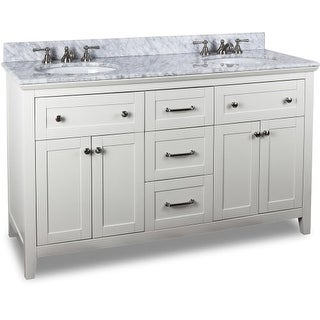 Jeffrey Alexander VAN105D-60-T 60 Inch Double Free Standing Vanity Set with Hardwood Cabinet, Marble Top, and 2 Oval Undermount