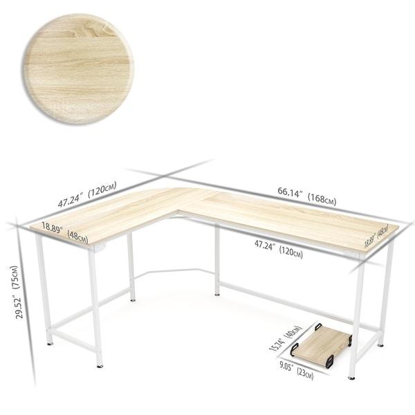 Computer Game Desk Wood Steel L-Shape Corner PC Laptop Table For Home Office