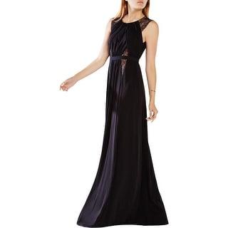 BCBG Max Azria Womens Stehla Evening Dress Lace Trim Sheath