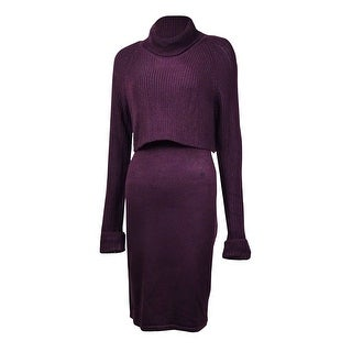 Calvin Klein Women's Solid Turtleneck Tiered Sweater Dress - Aubergine