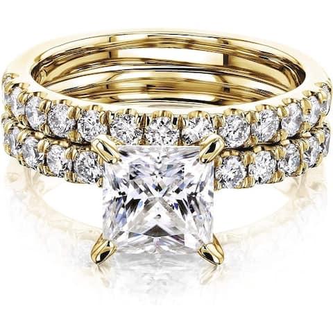 Annello by Kobelli 14K Gold 1.5ct Princess Moissanite Comfort Fit French Pave Bridal (HI/VS, GH/I)