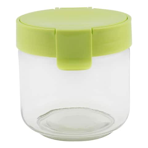 Family Kitchenware Glass Airtight Seal Tea Leaf Food Canister Green 730ML