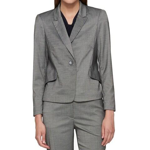 Tommy Hilfiger Womens Pinstripe One Button Blazer