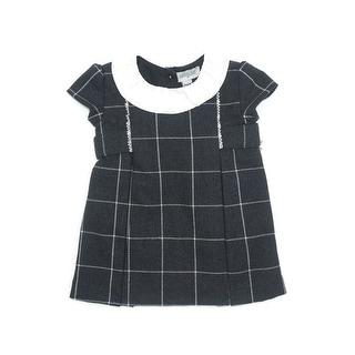 Coquelicot Baby Girls Dark Gray Short Sleeve Collar Trim Detail Dress