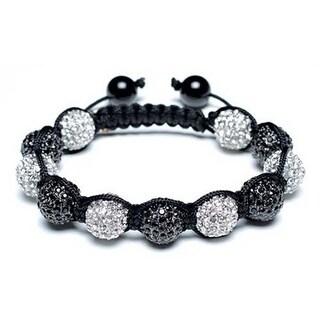 Bling Jewelry Shamballa Inspired Bracelet Black White Crystal Beads Alloy