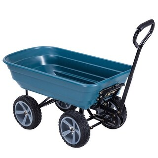 Gymax Heavy Duty Garden Dump Cart Dumper Wagon Carrier Wheel Barrow Air Tires