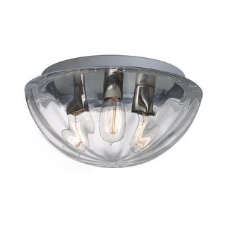 Besa Lighting 906388C-EDI Pinta 3 Light Flush Mount Ceiling Fixture with Clear Shade and Vintage Edison Bulb
