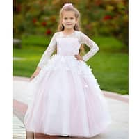 Girls Blush 3D Butterfly Applique Train Cheyenne Flower Girl Dress