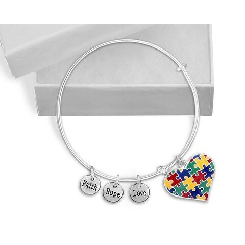 Autism Puzzle Piece Heart Multicolor Charm Bracelet