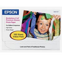 Epson Premium Photo Paper Glossy (4X6 Inches, 100 Sheets) (S041727)