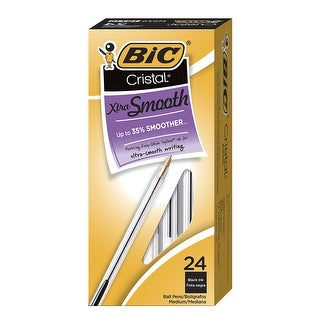 BIC Cristal Xtra Smooth Ballpoint Pen, 1.0 mm Medium Tip, Black, Pack of 24