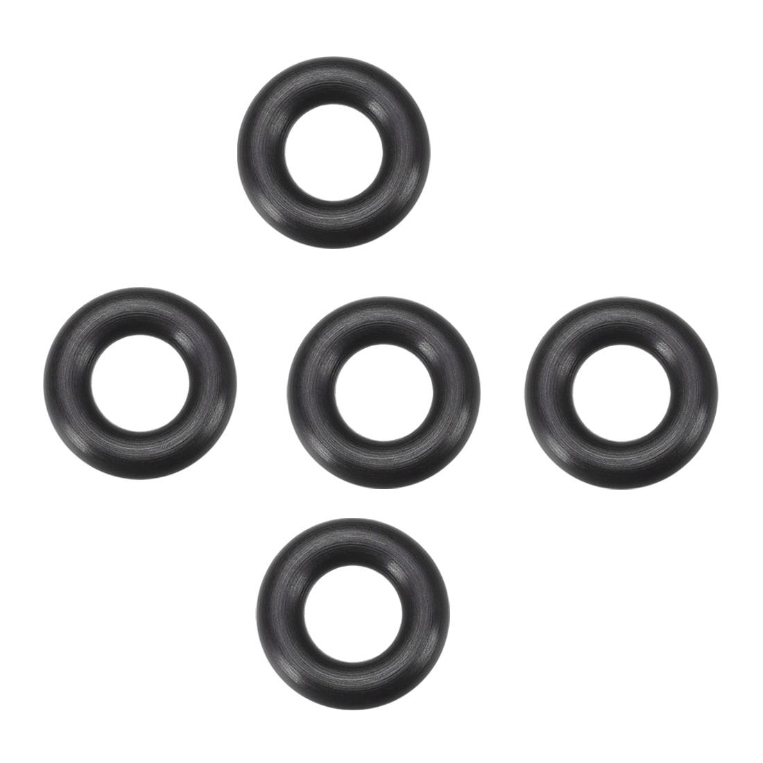 Seal Gasket Black 5Pcs 7mm ID 14mm OD Fluorine Rubber O Rings 3.5mm Width