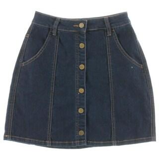 Blank NYC Womens A-Line Skirt Denim Mini