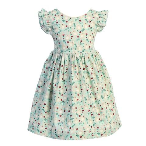 Kids Dream Little Girls Pink Bunny Floral Print Ruffle Cotton Easter Dress