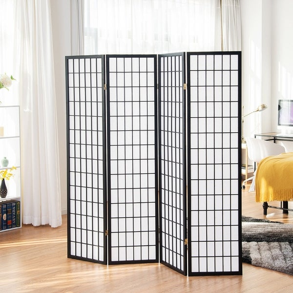 4 Panel Room Divider Folding Privacy Shoji Screen Pine Wood Frame Black