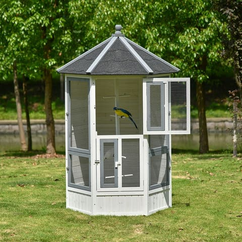 """PawHut 72"""" Aviary Bird Cage, Large Wooden Bird Home Includes Perches, Lockable Doors, Budgie, Canary, Cockatiel"""