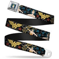 Wonder Woman Face Comic Full Color Blues Wonder Woman Poses Logo Stars Seatbelt Belt