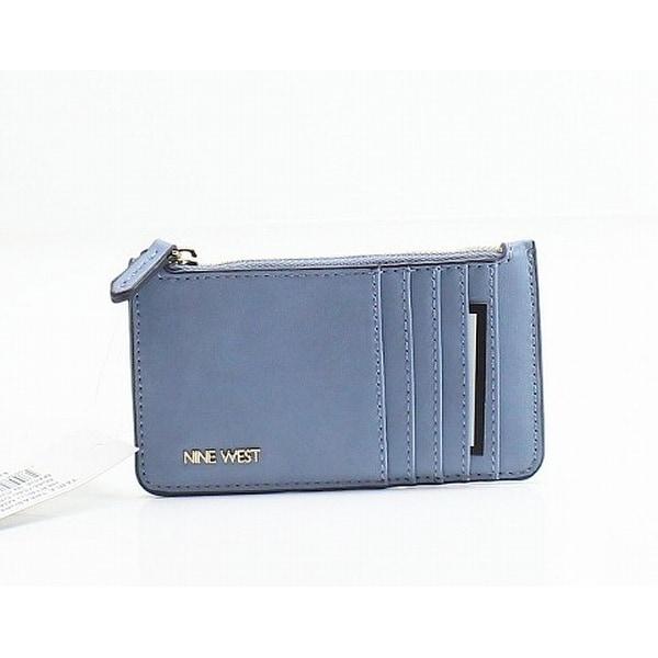 Nine West Heritage Blue Pleather Table Treasures Zip Cardholder Wallet