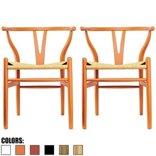 2xhome - Set of 2 Orange Modern Wood Dining Chair With Back Arm Armchair Hemp Seat For Home Restaurant Office