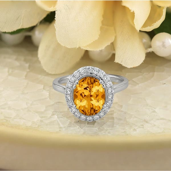 Amour 10k Yellow Gold Oval-Cut Citrine and Diamond Solitaire Ring