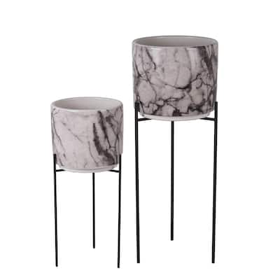 Set of 2 Marble/Black Ceramic/Metal Planters