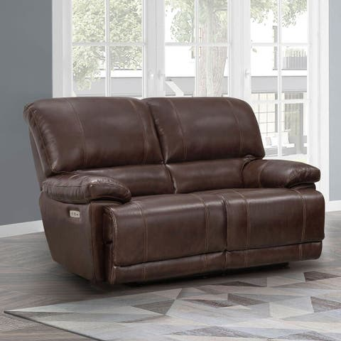 Sorrento Top Grain Leather Power Loveseat