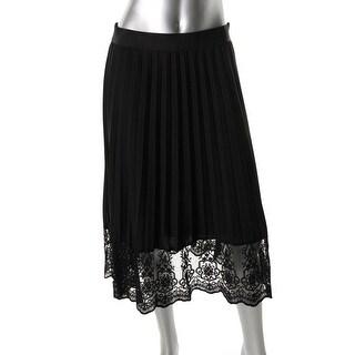 Robert Rodriguez Womens Chiffon Lace Trim Straight Skirt - S