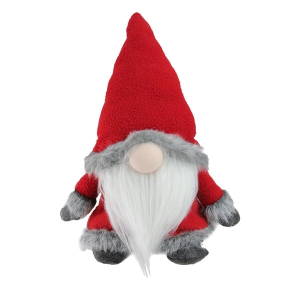 "13"" Red and Gray Christmas Sitting Santa Gnome with Faux Fur Trim"