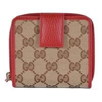 b7877e701f40 Gucci Women's 346056 Beige Red GG Guccissima French Zip Around Wallet - 4