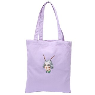 Canvas Girl Pattern Reusable Shoulder Strap Tote Shopping Bag Handbag Purple