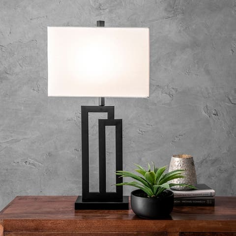 "nuLOOM 32"" Metal Modern Tripod Linen Shade Table Lamp"