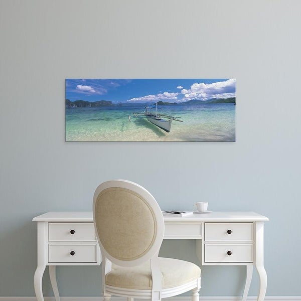 Easy Art Prints Panoramic Images's 'Fishing boat moored on the beach, Palawan, Philippines' Premium Canvas Art