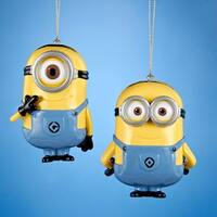 "Club Pack of 24 Despicable Me Minions Dave and Carl Christmas Ornaments 3.5"" - YELLOW"