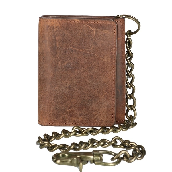 CTM® Men's Crazy Horse Leather RFID Trifold Chain Wallet - one size