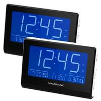Magnasonic Alarm Clock Radio with Battery Backup, Dual Alarm, Dimming, Daylight Savings Time, Large LED Display - 2 Pack