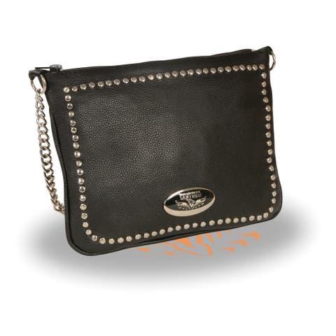 Ladies Chain Strap Riveted Shoulder Bag w/ Gun Pocket