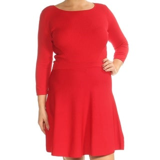 Womens Red 3/4 Sleeve Above The Knee Fit + Flare Dress Size: L