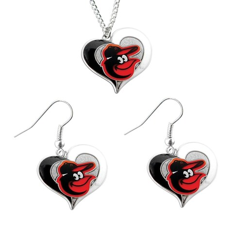 Baltimore Orioles Swirl Heart Necklace And Dangle Earring Set Mlb Charm Gift