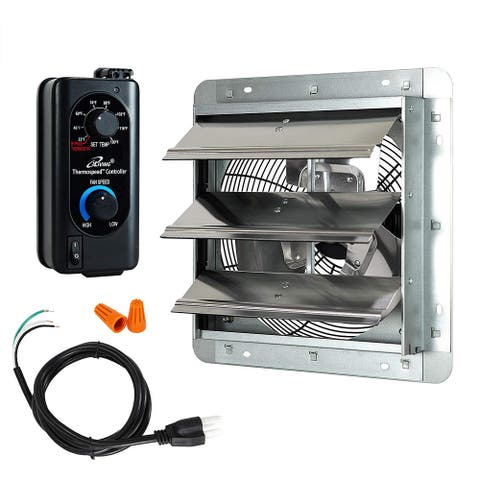 """iLIVING 12"""" Shutter Exhaust Fan with Thermospeed(TM) controller"""