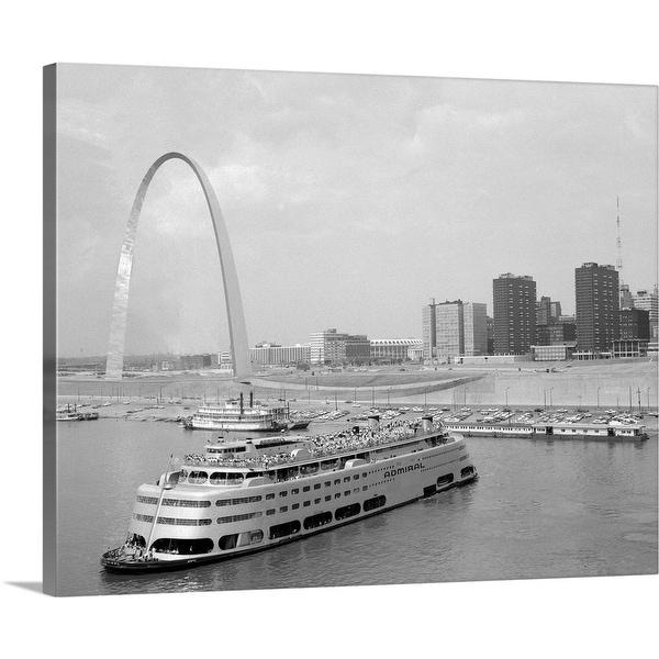 """1960's St. Louis Missouri Gateway Arch Skyline Mississippi River Ss Admiral Casino"" Canvas Wall Art"