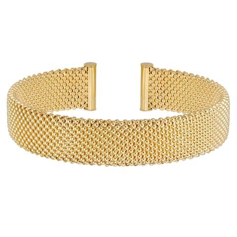Forever Last 18 k Gold Plated Women's Mesh Cuff Bangle Bracelet