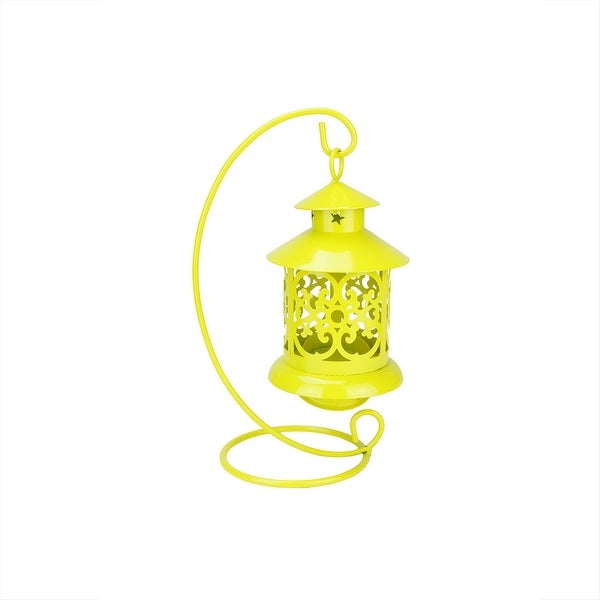 "8.75"" Shiny Yellow Votive or Tealight Candle Holder Mini Lantern with Hanger"