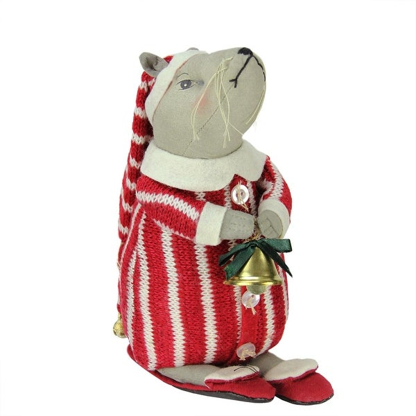 """8.75"""" Gathered Traditions Thadeas the Mouse Holding a Jingle Bell Decorative Christmas Figurine"""