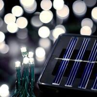 Saffron Solar String Lights, 100 LED, 30ft, Warm White