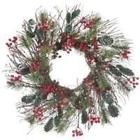 "Frosted Skip Pine W/Berry/Holly Wreath 24""-"