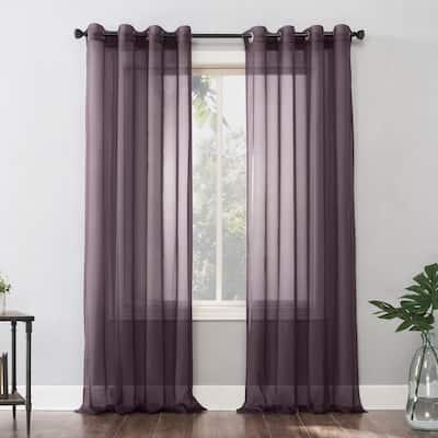 No. 918 Emily Voile Sheer Grommet Curtain Panel, Single Panel