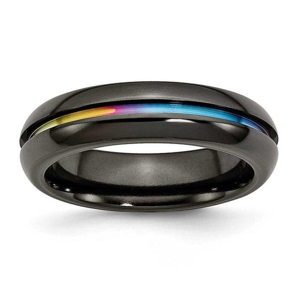 Chisel Titanium Black Multi-colored Anodized 6mm Polished Band